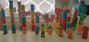 Fourth grade students created Kachina Dolls and Totem Poles in Social Studies class.