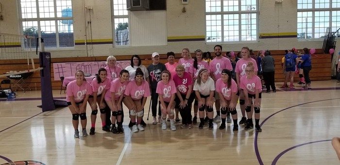 Varsity Volleyball team honors breast cancer survivors