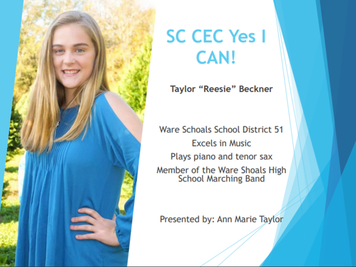Reesie Beckner, Yes I Can! award